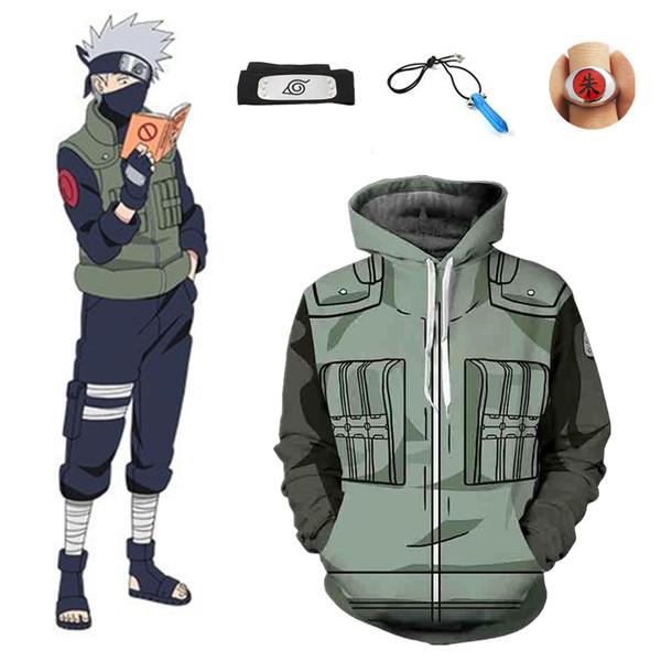 Tamanho asiático Japão Anime Naruto Hokata Hatake Kakashi Unisex Cosplay Halloween Jacket Moletom Com Capuz Uniforme Conjunto Completo