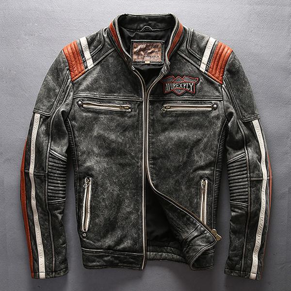 Männer Motorradfahrer Jacke Aus Echtem Leder Vintage Mantel Stehkragen Stickerei Rindsleder Lederjacke Freies Verschiffen