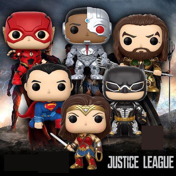 FUNKO POP DC Justice League: Aquaman & Batman Superman Wonder women Characters Model pvc Action & Toy Figures for Children