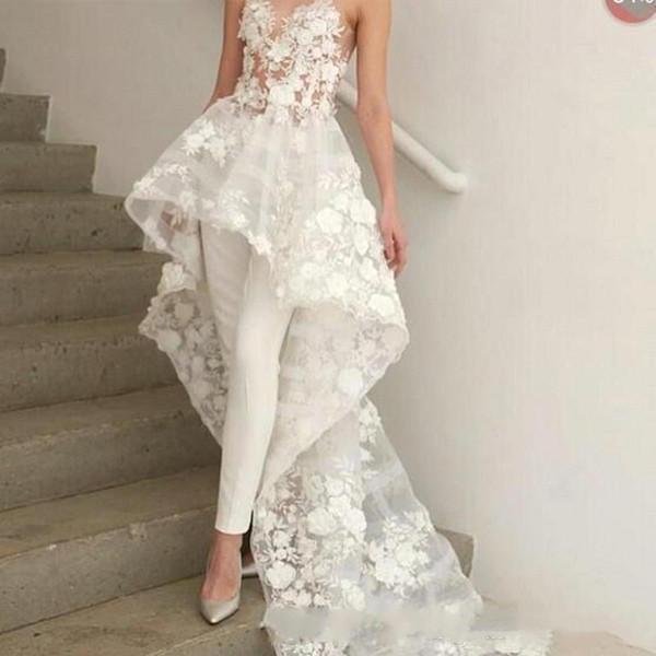New Sexy Bohemian White Jumpsuit Abito da sposa lungo Train 2019 Zuhair Murad Sweetheart Lace 3D Floral Appliques abito da sposa BC1820