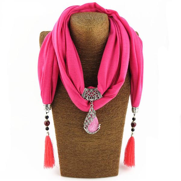 Bohemian New Ceramic Beads Tassel Peacock Stone Pendant Scarf For Women Charm Boho Fashion Jewelry Scarves