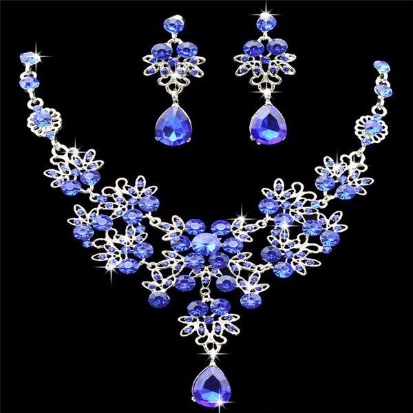 Fashion Rhinestone Necklace Earrings New Set Crystal Women Wedding Jewelry Chic
