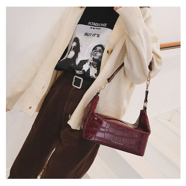 Aliigator Handbags Women Crocodile Pattern Pu Leather Letter Shoulder Bags Casual Solid Crossbody Bags For Women Small Box Lady