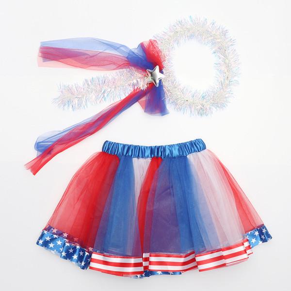 Falda de gasa TuTu Little Girl Festival Rendimiento Falda de gasa Bandera estadounidense Día nacional de la Independencia de EE. UU. 4 de julio con gorro