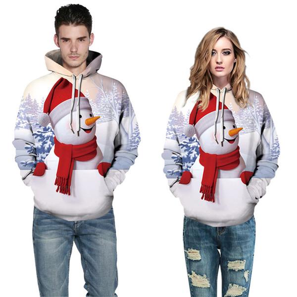 Уродливые Рождество свитер пара толстовки Мужчины Женщины толстовка 3d печатных снеговик шаблон костюм повседневная мужская пуловер топы A11076 плюс размер