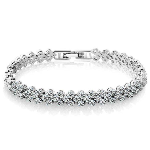 Bracelets Silver Gold Tennis Bracelet Luxury Shining CZ Diamond Crystal Bangle Bracelets Fashion Jewelry Wholesale Free Shipping 0063WH