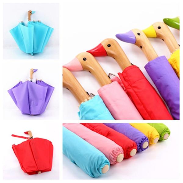 новый утка голова зонтик деревянная ручка зонтик Оптовая Солнечный и дождливый зонтик складной зонтик партии пользу T2I5635