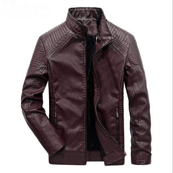 2019 Winter Men's Leather Jacket Coat Classic Leather Motorcycle Jacket Leisure Plus Velvet Stand Collar Coat