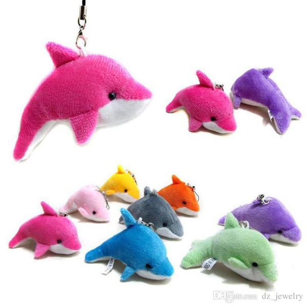 best selling 2018 Lovely Mixed Color Mini Cute Dolphin Charms Kids Plush Toys Home Party Pendant Gift Decorations Free Shipping
