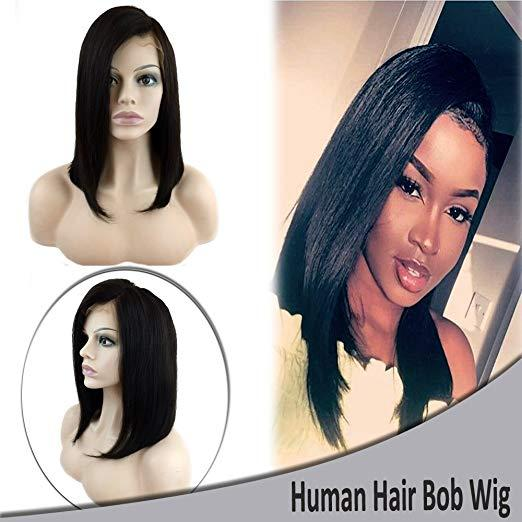 """Short Bob Human Hair Lace Front Wig 12"""" Side Part Front Lace Wigs Blunt Cut Brazilian Remy Hair Pre-plucked for Black Women"""