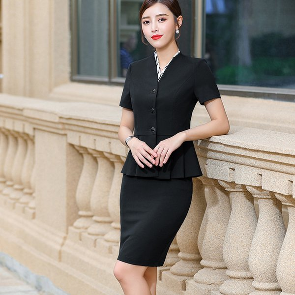 uk store online for sale so cheap 2019 BS862 Office Workwear Suit Female New Beauty Fashion Temperament OL  Short Sleeve Blazer And Skirt Set Suit From Dujotree, $24.13   DHgate.Com
