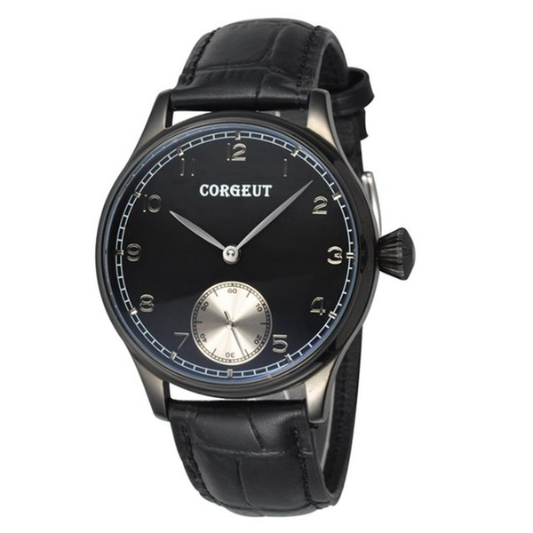 High quality  Corgeut 44mm black PVD Case mechanical clock Hand Winding 6498 Mens water resistant wristwatch top