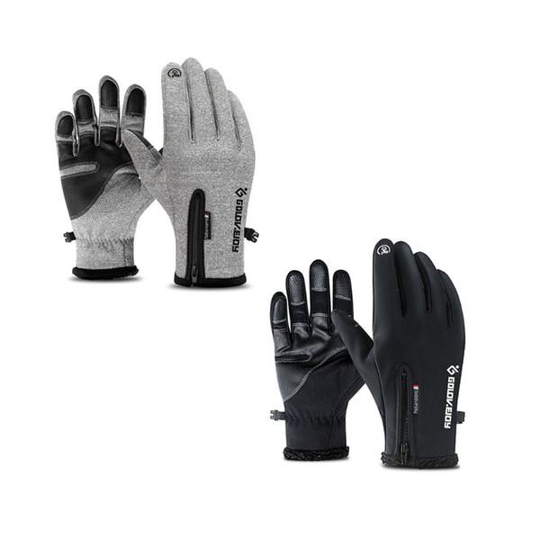Unisex Waterproof Anti Slip Touch Screen Warm Gloves Zipper Adjustable Cuff Winter Camping Hiking Skiing Outdoor Sport Accessory