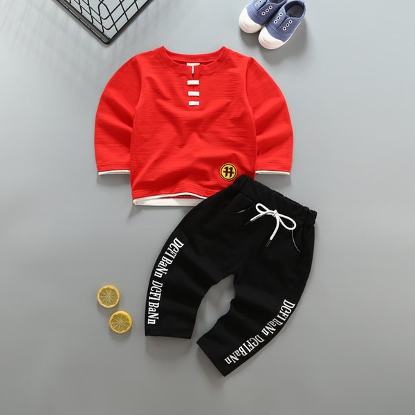 good quality Spring baby boys clothes kids Fashion clothes suits infant Children star pattern long Sleeves t-shirts+long pants 0-2Y