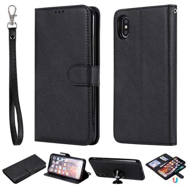 For iPhone XS Max Leather Case Detachable 2 in 1 Flip Folding Wallet Folio Magnetic Stand Case Cover for iPhone XR XS 2018 Funda