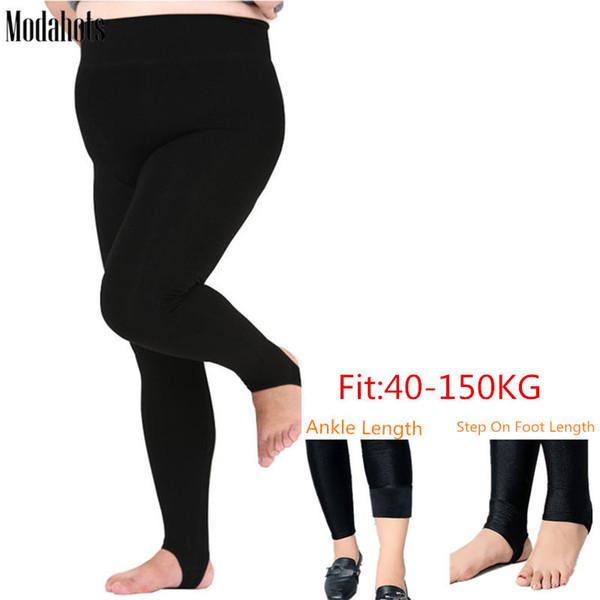 Plus Size Winter Women Leggings Thick Velvet Super Big Sizes 6xl Legging Black Luster Warm Stretchy Fat Mm Ankle Length Pants Q190510