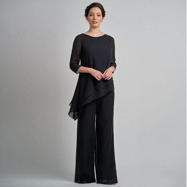 Pas cher noir manches longues mère de la mariée pantalon costumes bijou cou à volants robe de mariée plus la taille en mousseline de soie mère marié robes