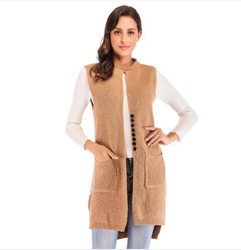 Women Sweater Vest 2018 New Spring Long Section Sleeveless Knitted Clothing Female Outwear Fashion Casual Slim Fit Cardigan