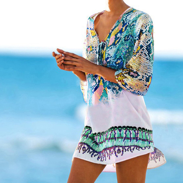 Bathing suit cover ups Kaftan Beach 2019 Beach tunic Cover up Print Snake Robe de Plage up Dress Swimwear