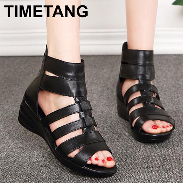 TIMETANGNew Summer Female Sandals Genuine Leather Soft Outsole Comfortable Women Sandals Shoes Open Toe Women WedgesSandalsE340
