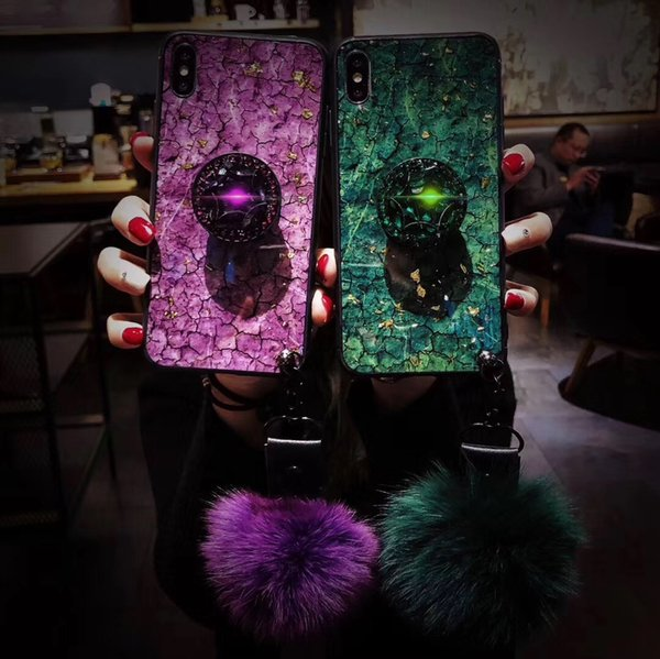 New Luxury Case for iphone 6 7 8 plus X XR XS MAX fashion emerald shiny extension bracket+fox fur ball cover case