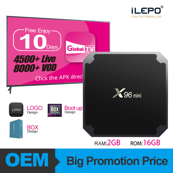 top popular X96 Mini Android 7.1 TV BOX Amlogic S905W 2GB 16GB Android IPTV Box HD 4K WiFi Smart TV Streaming Media Player 2019