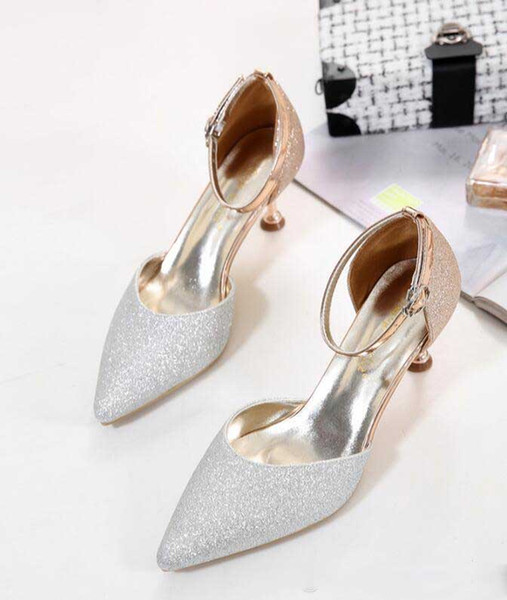 2019 European women shoes High heels designer One word buckle luxury shoes Sequin Color matching free shipping large size : US 4-8 368
