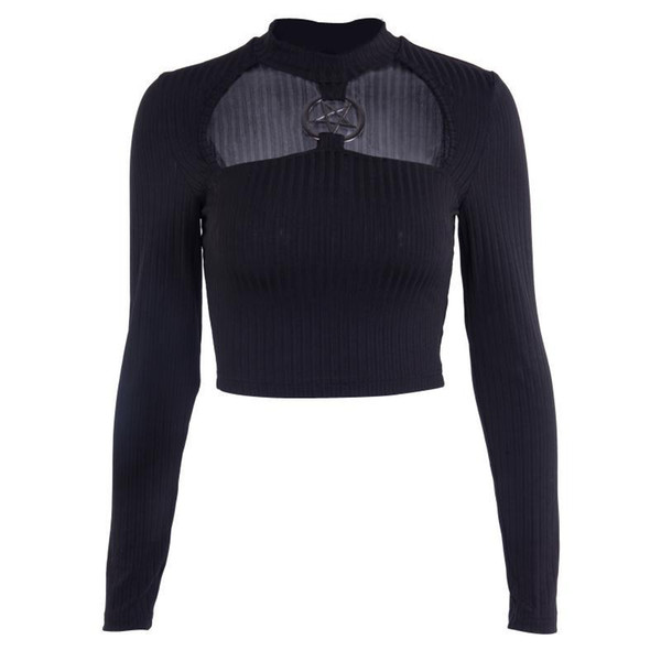 2019 Pastel Goth Black Turtleneck Knitted Sweater Sexy Crop Top Long Sleeve Steam Punk Stars Patchwork Tops