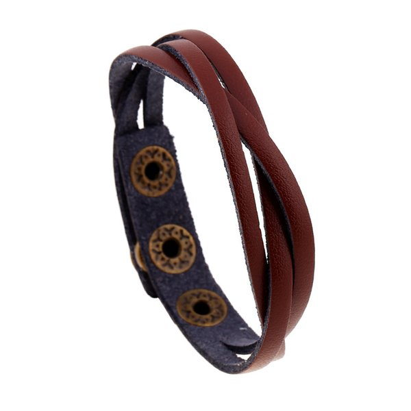 Hot Sell 100% Hand-woven Fashion Jewelry Wrap Multilayer Leather Braided Rope Wristband Men Bracelets & Bangles for Women