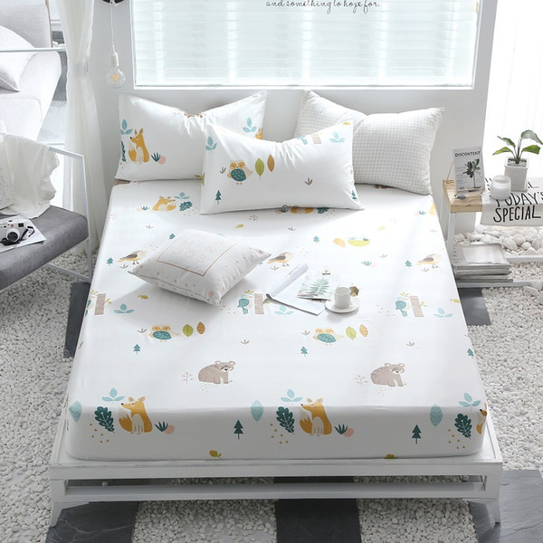 100%Cotton Printed Solid Fitted Sheet Mattress Cover Four Corners With Elastic Band Bed Sheet