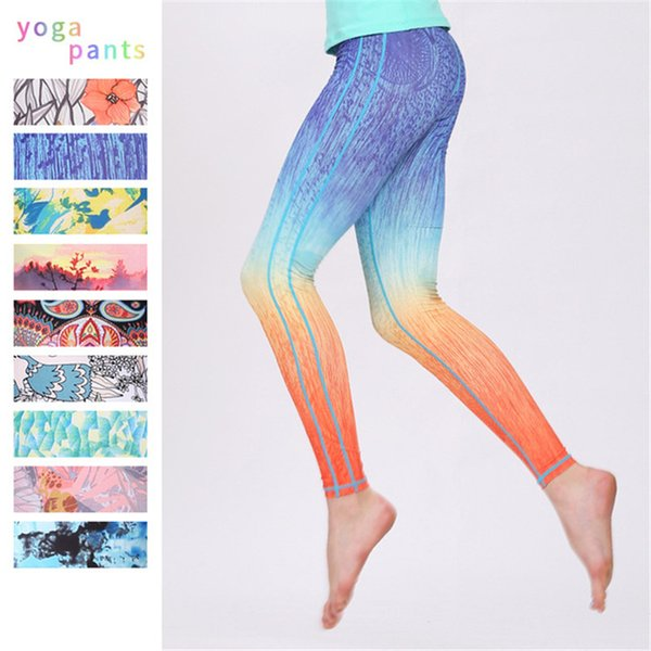 Womens Super Elastic Cropped Pants Digital Print Yoga Pants Running Riding Sport Trousers Workout Athletic Tights Dance Gym Fitness Leggings