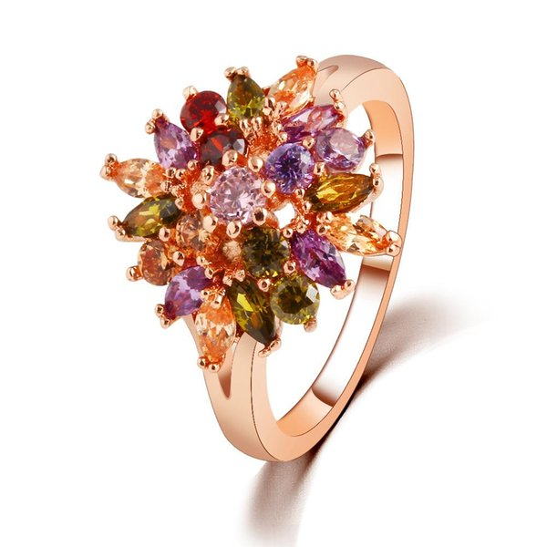 Complicated Design Jewelry Gold Color Double Flower Big Rings Big zircon crystal For Graceful Ladies