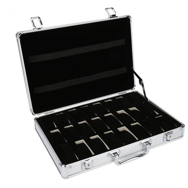 24 Grid Aluminum Suitcase Case Display Storage Box Watch Storage Box Case Watch Bracket Clock Clock