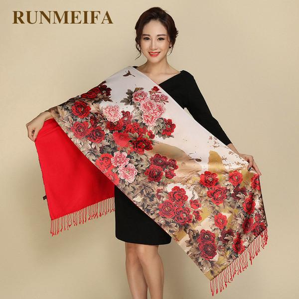 vente en gros de style pastoral pashmina deux côtés portent des écharpes femmes écharpe en soie cachemire foulard rétro national tippet chaud impression