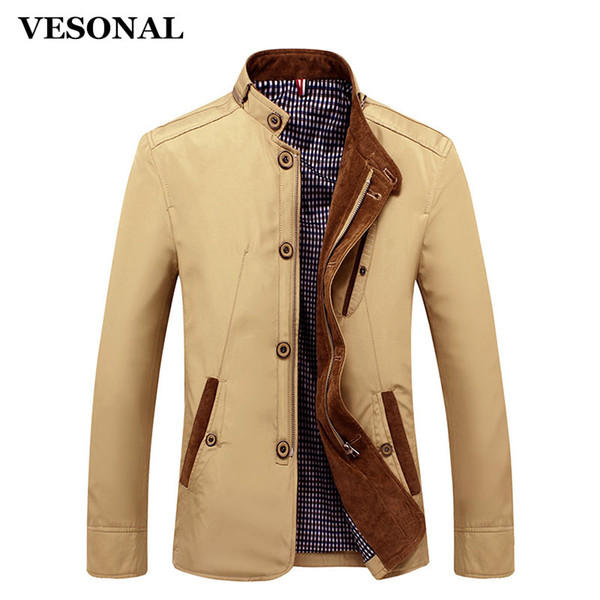 VESONAL Spring Autumn Polyester Slim Fit Thin Stand Button Male Casual Jacket Men Short Windbreaker Jackets Coat Blue Khaki 4XL