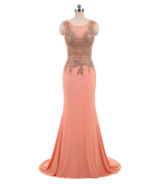 New Arrival 2019 Evening Dresses Mermaid Sheer Neck Sleeveless Gold Lace Appliques Sweep Train Formal Women Prom Party Gown Custom Made