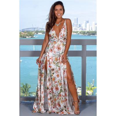 Moda Kadınlar Tasarımcı Plaj Elbiseleri 2019 Yeni Varış Bayan Baskılı Plaj Tatil Uzun Elbise Casual Kadınlar Seksi Elbise