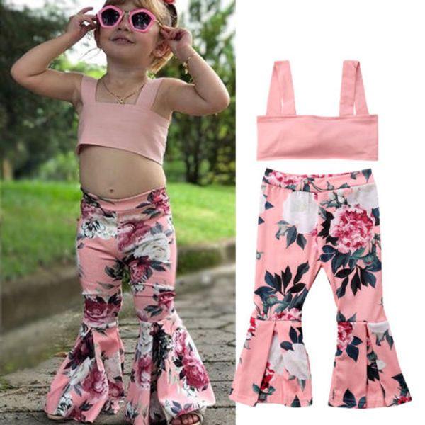 Yeni Tasarım Prenses Çocuk Kız Bebek Yaz Pretty Kıyafetler Set Bell-dipleri Katı Sleeveless Tank Top Uzun Flare Pantolon Giyim