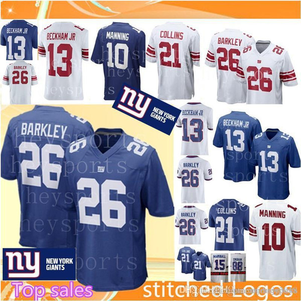 outlet store 94297 45fab Men'S 26 Saquon Barkley New York Giants Jersey Top 13 Odell Beckham Jr 10  Eli Manning 21 Landon Collins 15 Marshall Football Jerseys UK 2019 From ...