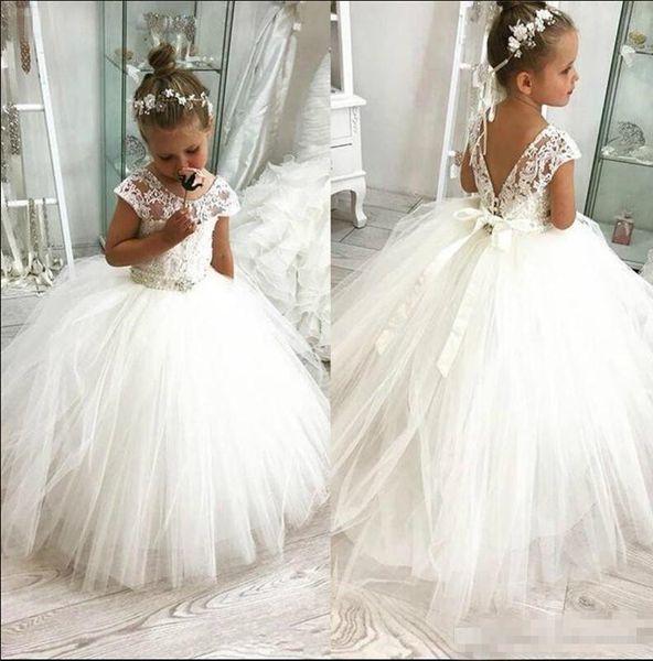 Princesa de la flor blanca vestidos de niña para 2019 Western Garden bodas Sheer manga casquillo apliques con el respaldo del niño de los niños vestido de cumpleaños con cordones