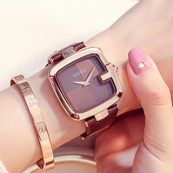 Guou Women's Watches 2018 Square Fashion Montre Femme 2018 Luxury Ladies Bracelet Watches For Women Leather Strap Clock Saati Y19052201