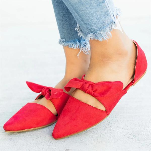Damas del dedo del pie puntiagudo zapatos casuales solteros mocasines de tacón bajo Bowknot verano sandalias planas zapatos de baile