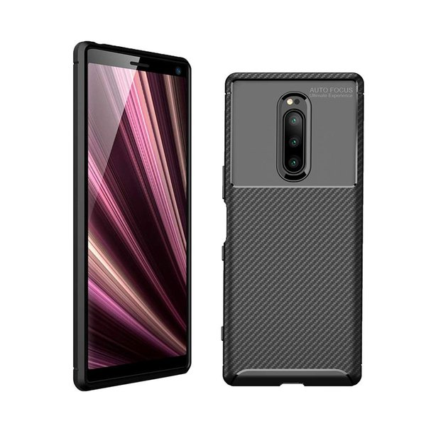 For Sony Xperia XA2 1 10 Plus XZ2 Compact Premium XA3 XZ3 XZ4 Ultra Case Cover Soft Silicone Rubber Carbon Fiber Texture Non-Scratch