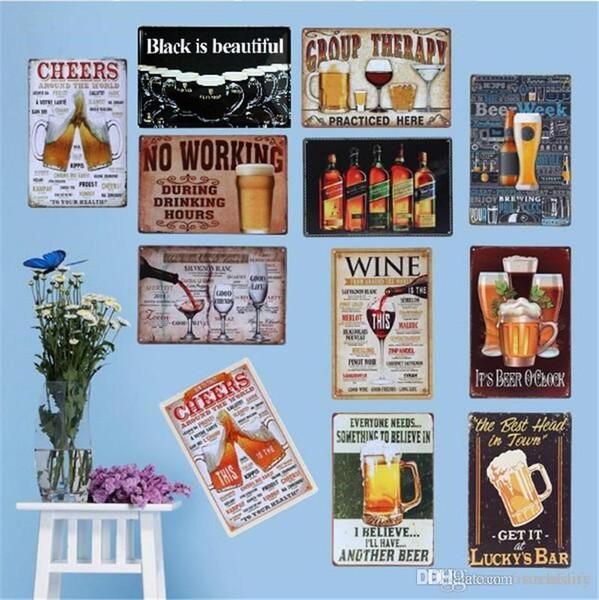 Cheeers y beber vino, la cerveza de la pared del cartel de 20 * 30 cm de metal muestras de la publicación Bar Club Inicio placas decorativas de la pared del arte del arte