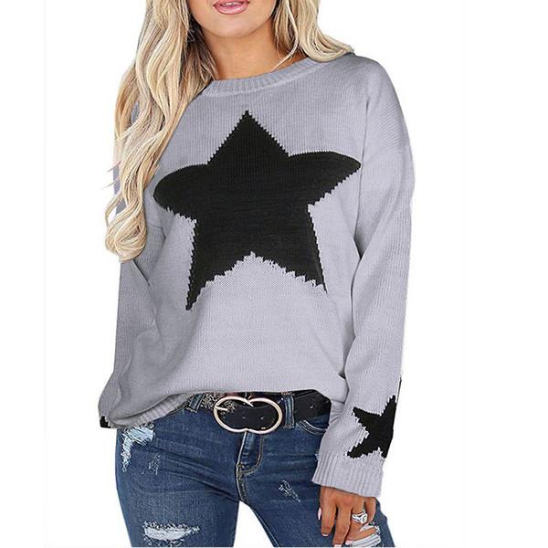 Suéteres Suéteres de mujer con estrellas 2019 Suéter de punto casual Jerseys de acrílico para damas Blanco Negro Gris Envío directo