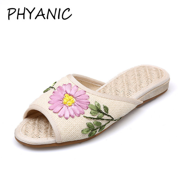 PHYANIC Breathable Linen Slippers Women Sandals Summer Open Toe Slides Flat Shoes Woman Embroidered Vintage Mules Shoes CAZ3122
