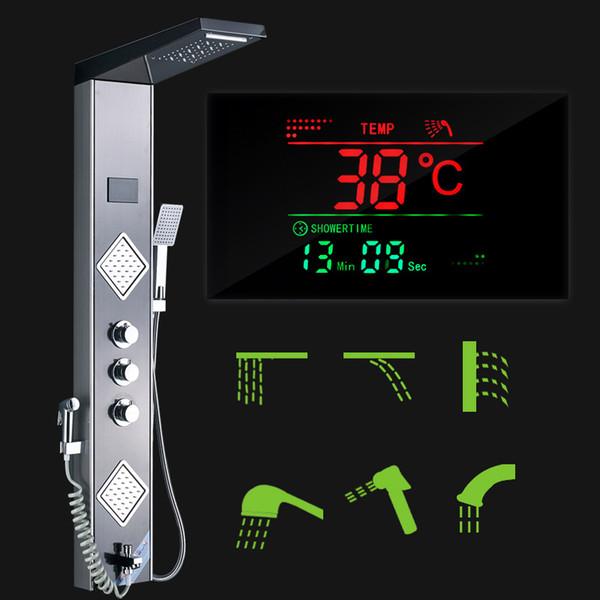 LED Rain Waterfall Shower Panel Tower system Black Shower Column Tower Digital Temperature digital display Screen 3 Hand mixer shower tap