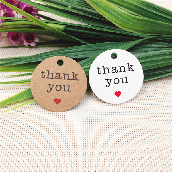 Free Shipping 3000pcs diameter 3cm Cute Round Packing Label Card Christmas Thanksgiving Party Kraft Paper Favor Tag