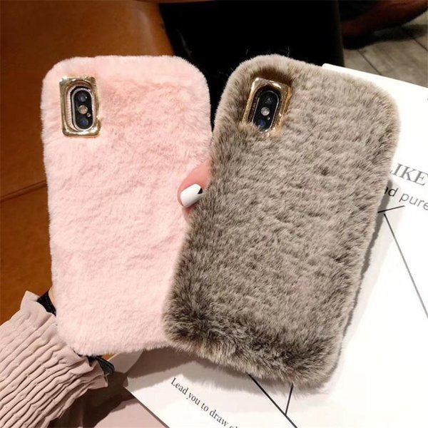 happy Happy Cute Fluffy Rabbit Hair Fur Case For iPhone XS Max XR X 8 7 6S Plus Cover Lovely Warm Bling Soft Phone Cases