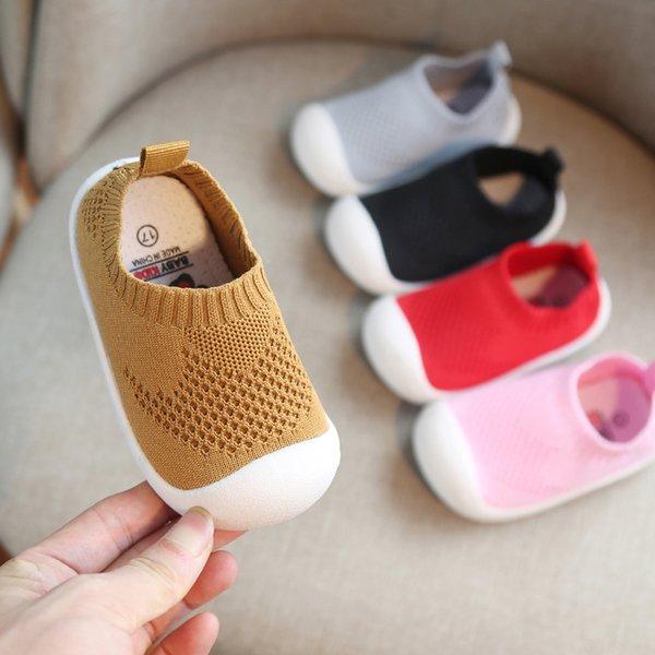 2019 Весна младенческой малыша обувь девушки мальчики повседневная сетка обувь мягкое дно удобные нескользящие детские первые ходунки обувь